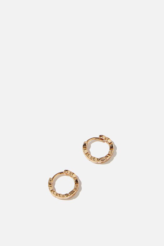 Ear Party Plain Huggie Hoops, GOLD HEXAGONAL