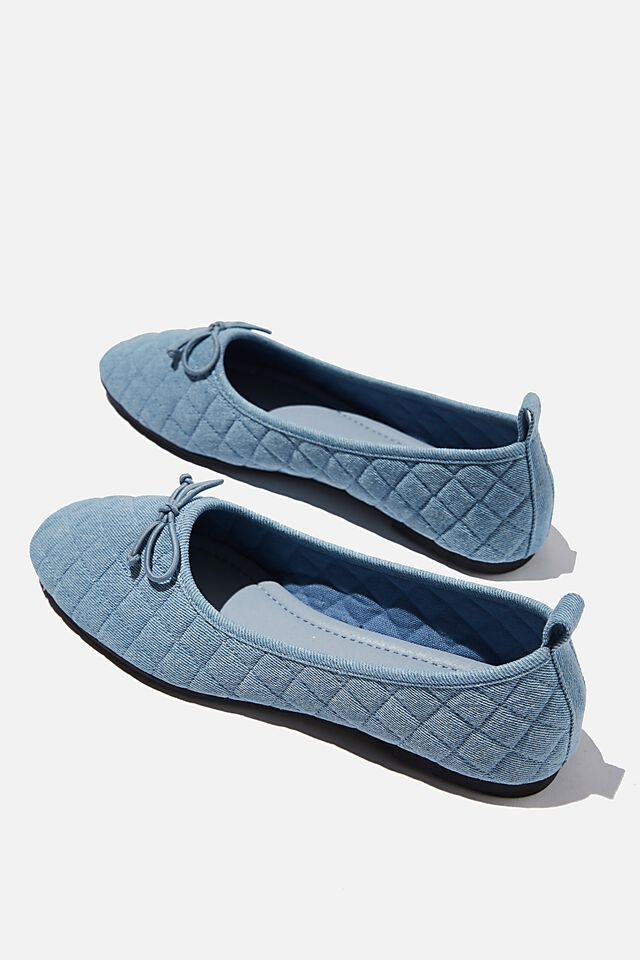 Essential Rylee Embellished Ballet, CHAMBRAY DENIM QUILTED