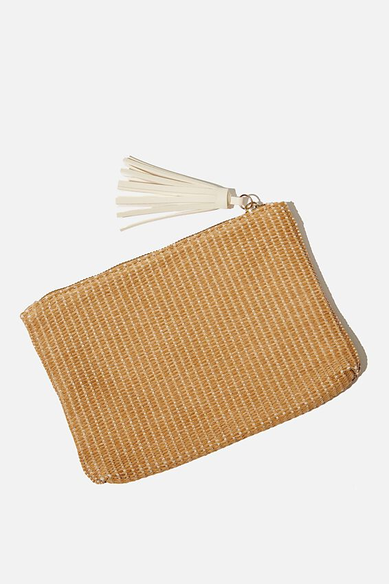 Summer Textured Tassel Clutch, NATURAL