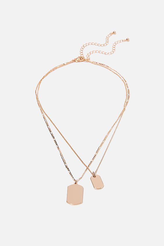 Keepsake 2 Pack Necklace Set, DOUBLE TAG GOLD