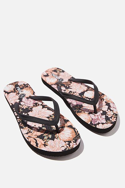The Rubi Flip Flop, BLACK KAIA FLORAL SHELL