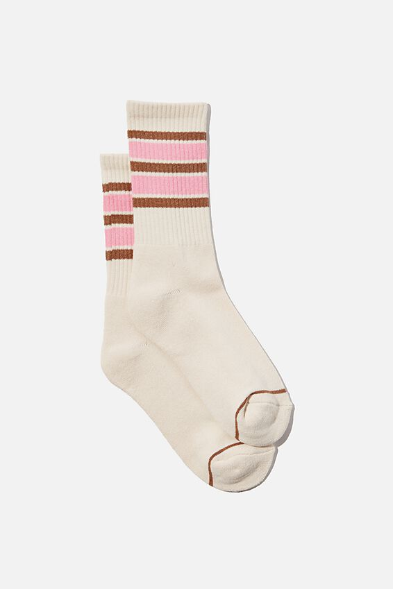 Club House Crew Sock, COCOA BEAN/PINK CHERRY BLOSSOM
