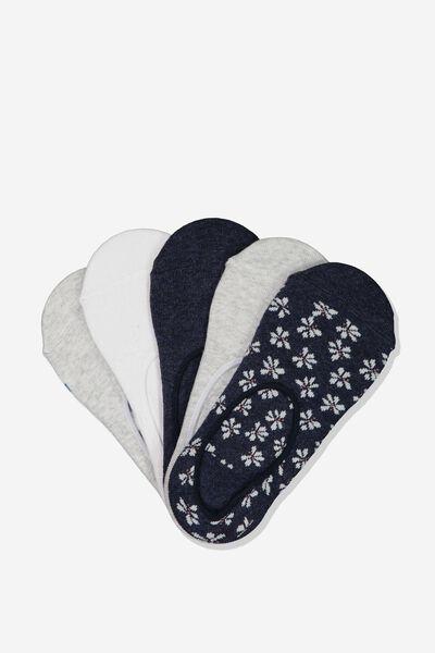 5Pk Low Cut Sock, NAVY DAISY