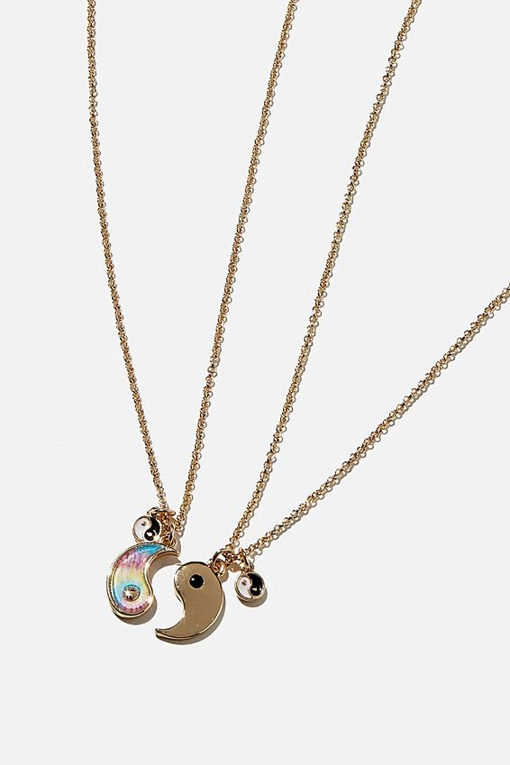 Bff Necklace Set, YIN & YANG TIE DYE