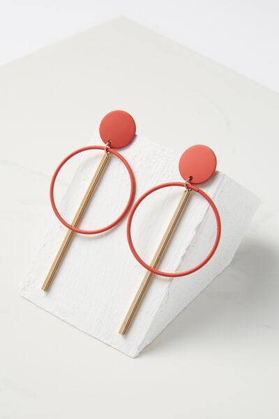 Coloured Double Hoop Statement Earring, RED