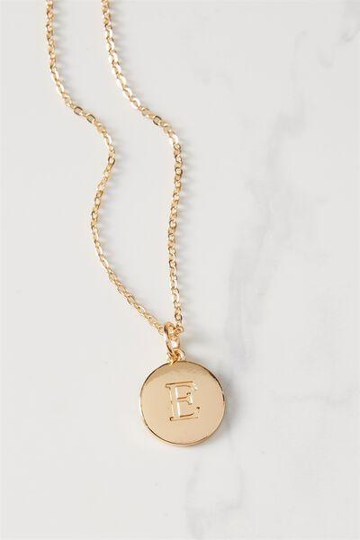 Letter Flat Pendant Necklace, GOLD - E