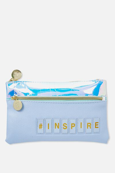 Personalised Dual Zip Cosmetic Case, BLUE BELL