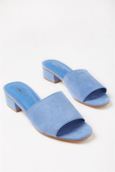 Dublin Low Mule Heel, CORNFLOWER BLUE MICRO