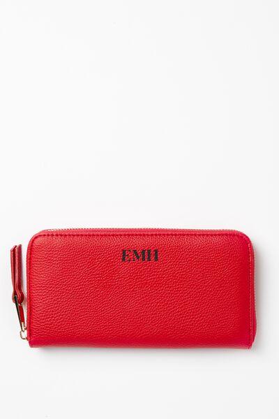 Personalised Audrey Zip Around Wallet, RED