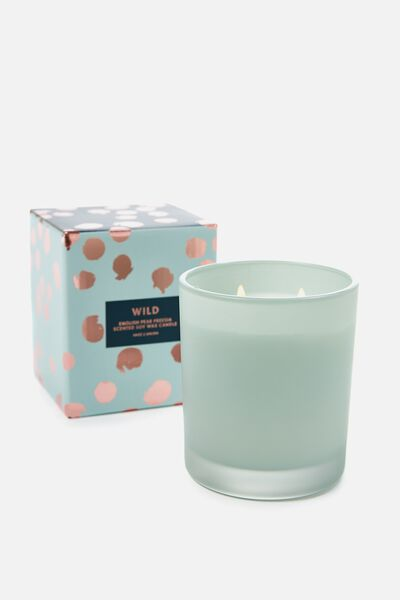 Large Box Candle, DUSTY GREEN/ENGLISH PEAR & FREESHIA