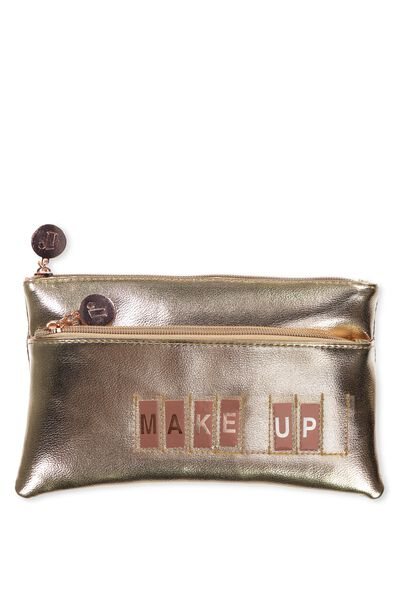 Personalised Dual Zip Cosmetic Case, ROSE GOLD
