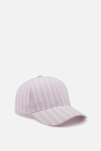 Nancy Cap, PINK/WHITE SHIRT STRIPE