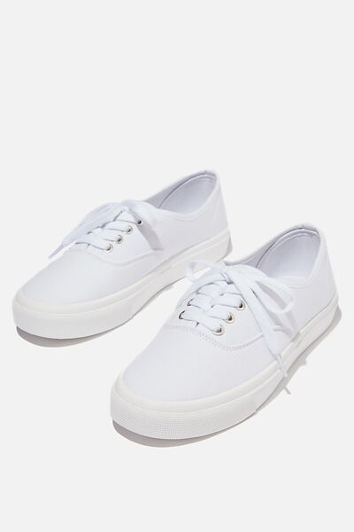 Jamie Lace Up Plimsoll, WHITE CANVAS