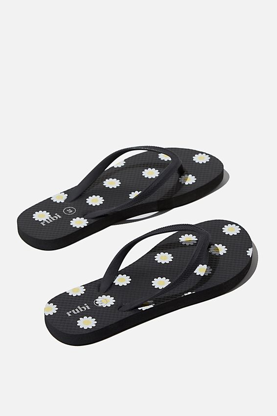 The Rubi Flip Flop, DAISY BLACK