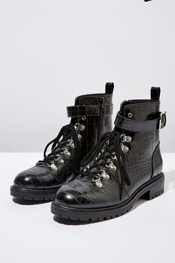 Hariette Lace Up Boot, BLACK CROC EMBOSS PU