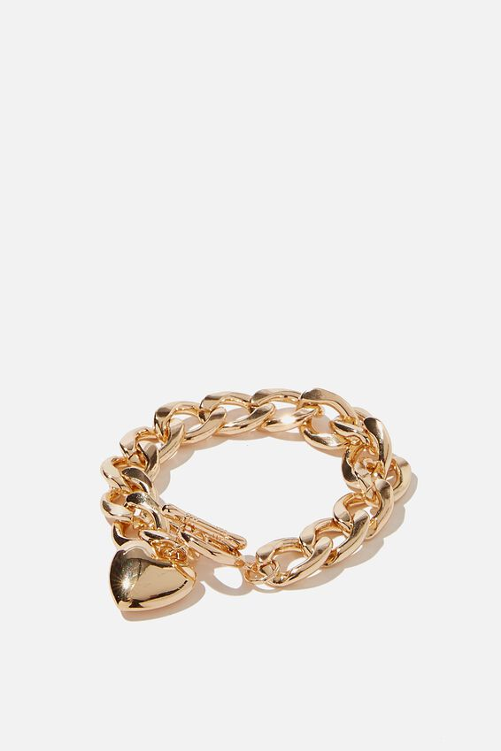 Luxe Layers Chunky Chain Hearts Bracelet, GOLD