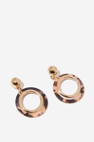 Thea Classic Earring, PEACH TORT/GOLD