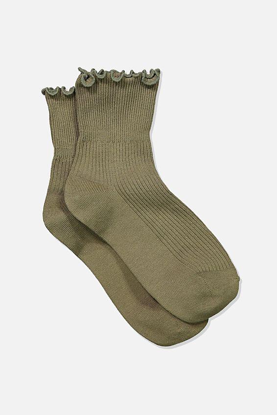 Frill Ribbed Quarter Crew Sock, KHAKI
