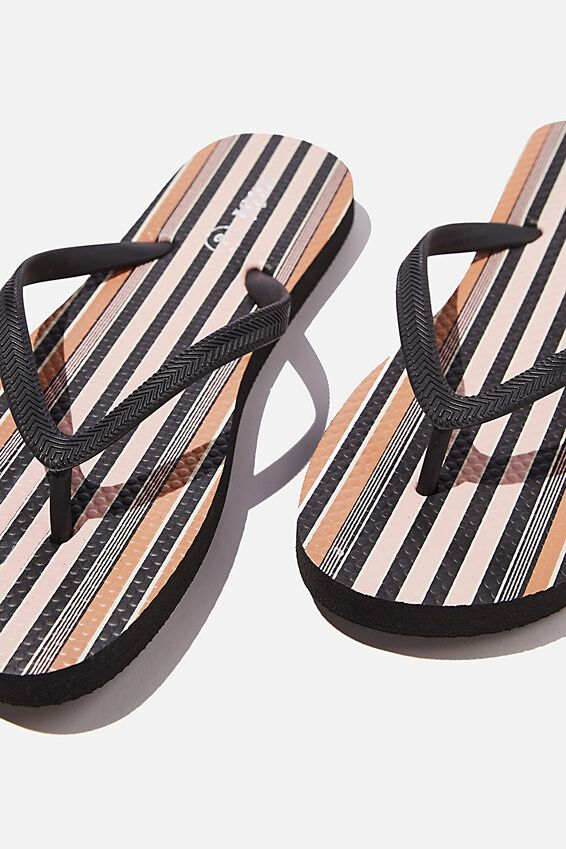 The Rubi Flip Flop, RETRO STRIPE GOLDEN BROWN