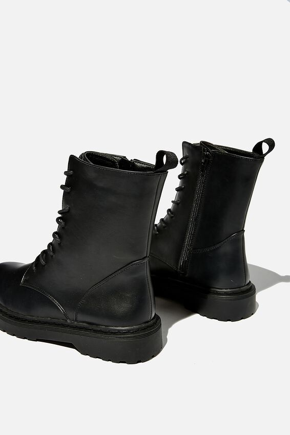 Freda Combat Lace Up Boot, BLACK SMOOTH