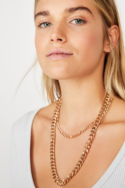 Dani Double Layer Chain Necklace, GOLD