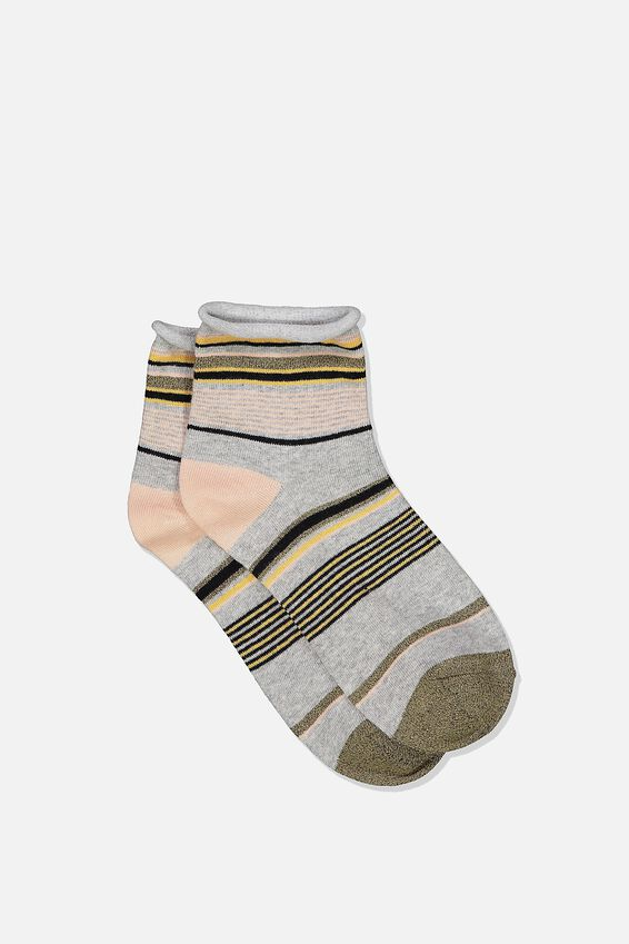 Roll Top Quarter Crew Sock, GREY MIX STRIPE