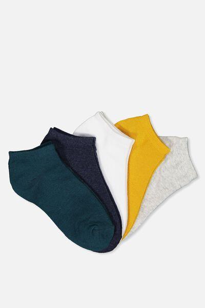5Pk Ankle Sock, MUSTARD/NAVY/TEAL