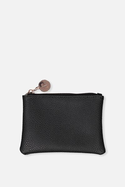 Meadow Coin Purse, BLACK WITH ROSE GOLD