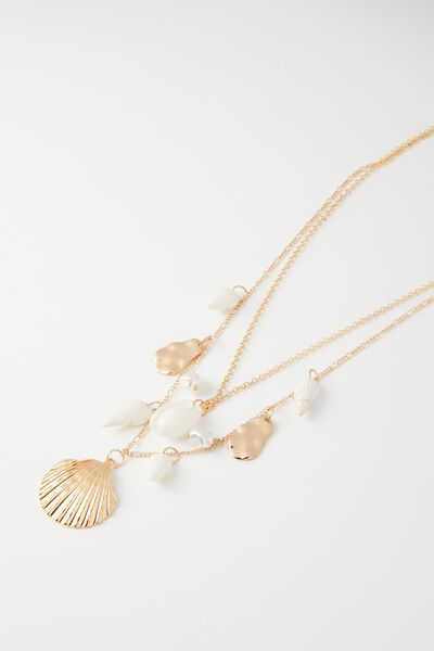 Oahu Shell Necklace, NATURAL/PEARL