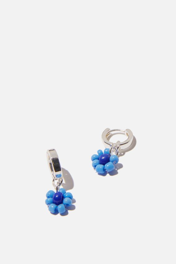 Ear Party Huggie Hoops, BLUE BEADED DAISY
