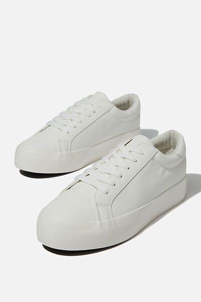Ally Platform Sneaker, WHITE