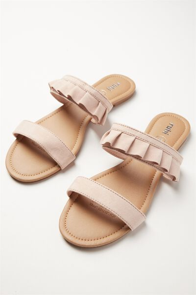Everyday Double Strap Ruffle Slide, BLUSH MICRO