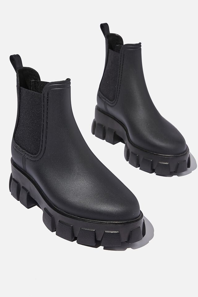 Cameron Gusset Rain Boot, BLACK