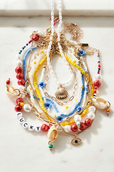 Holiday Souvenir Bracelet Pack, RAINBOW COWRIE SHELL