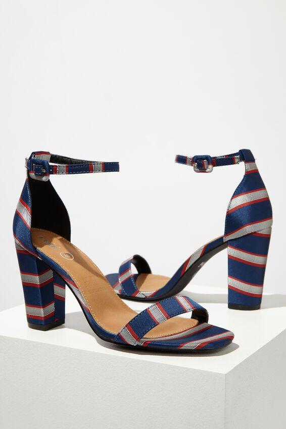 San Serena Square Toe Heel, BLUE/RED STRIPE