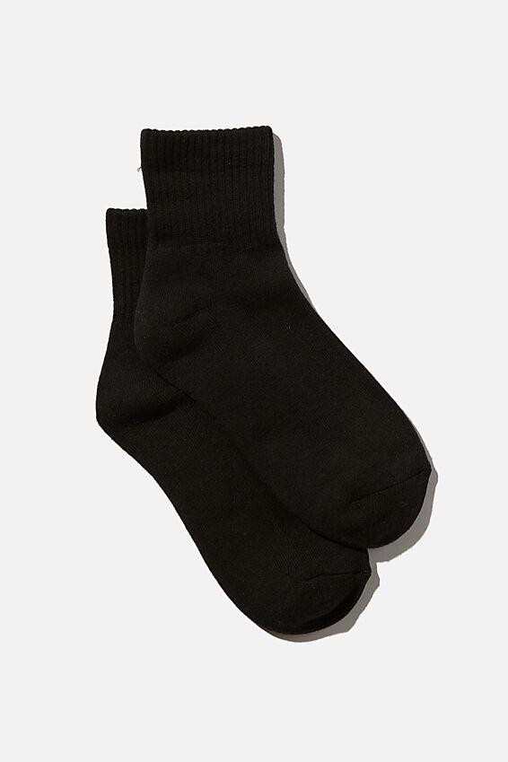 Club House Quarter Crew Sock, BLACK