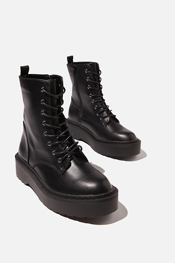 Fern Combat Platform Lace Up Boot, BLACK SMOOTH