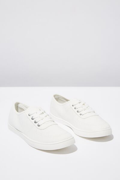 Phoebe Lace Up Plimsoll, WHITE TWILL