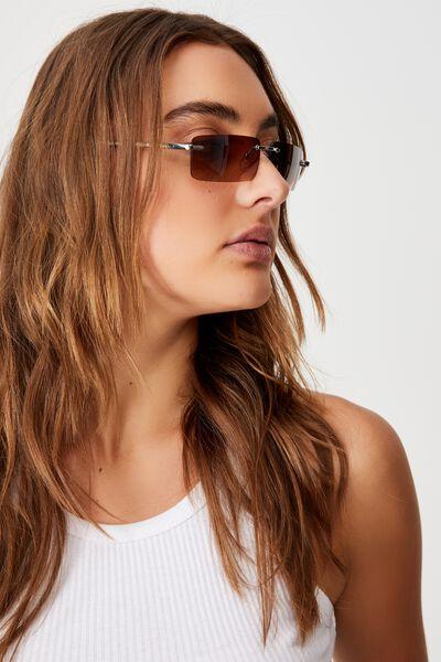 Rimless Square Sunglasses, BROWN