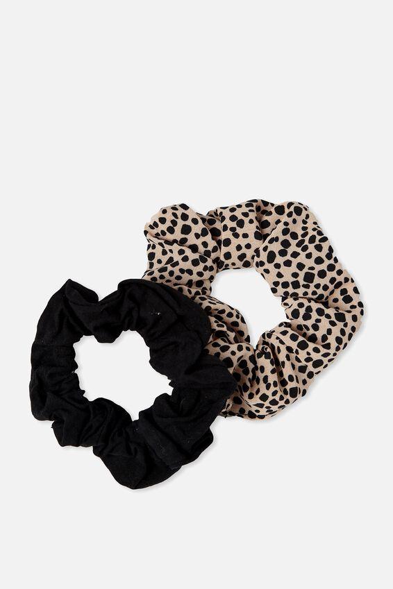 2Pk Scrunchie, BLACK/NEUTRAL ANIMAL