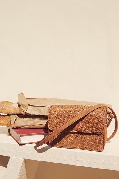 Boxy Cross Body Bag, TAN WOVEN