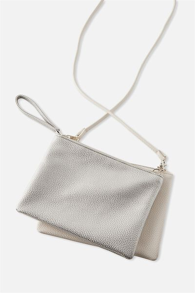 Dakota Double Pouch Cross Bag, WHITE/SILVER