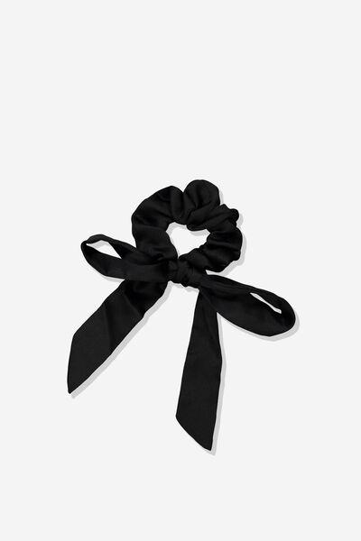 Brit Bow Scrunchie, BLACK SATIN