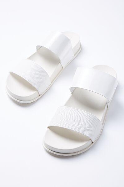 Baillie Double Strap Slide, WHITE