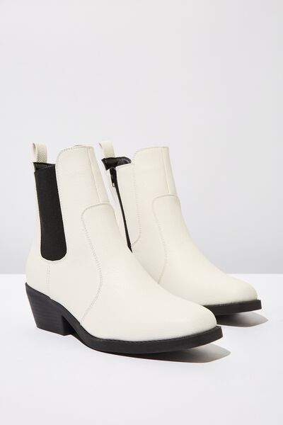 Tessa Square Toe Western Boot, OFF WHITE SMOOTH