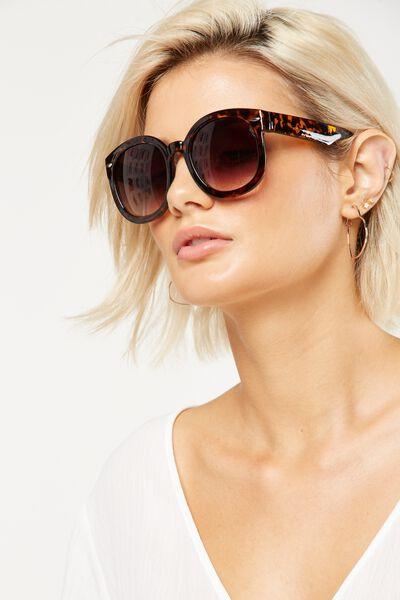 Farrah Round Sunglasses, TORT/SMOKE