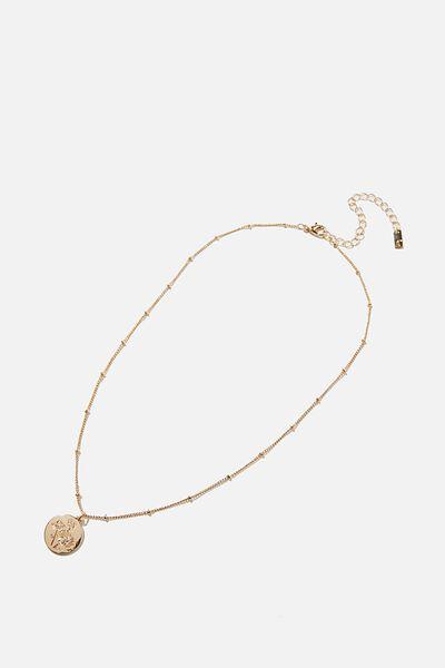 Reloved Pendant Necklace, GOLD FLORAL