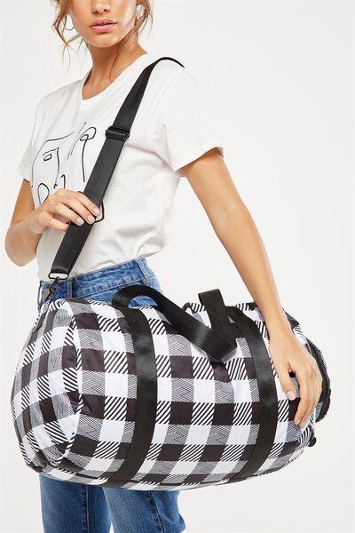 Athens Foldable Duffle Bag, BLACK CHECK