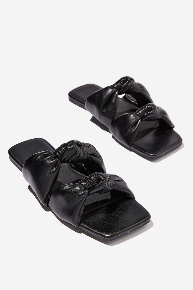 Hitch Knotted Slide, BLACK PU