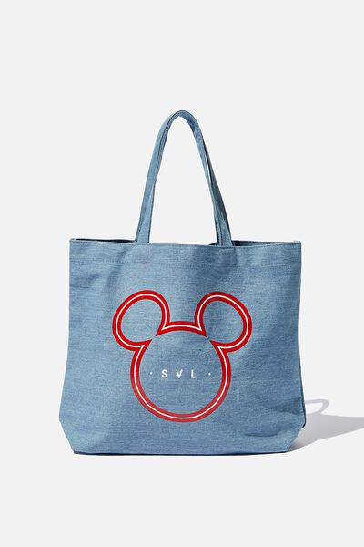 Personalised Minimalist Washed Tote, LCN MICKEY DENIM